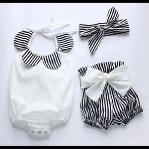 Other - Baby Black and White Striped Outfit